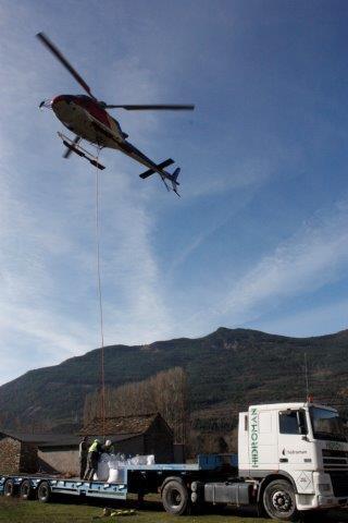 Transporte de Material en Helicoptero